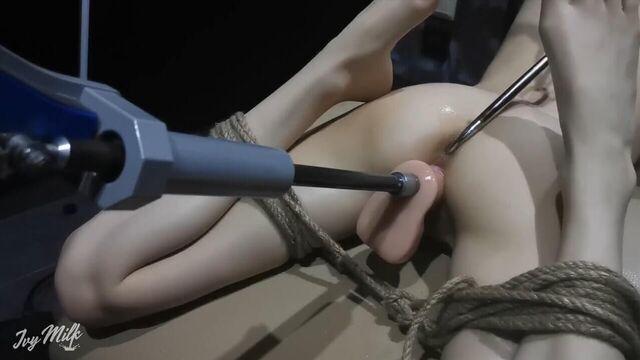 Мощнейший оргазм от секс машины с крюком в заднице