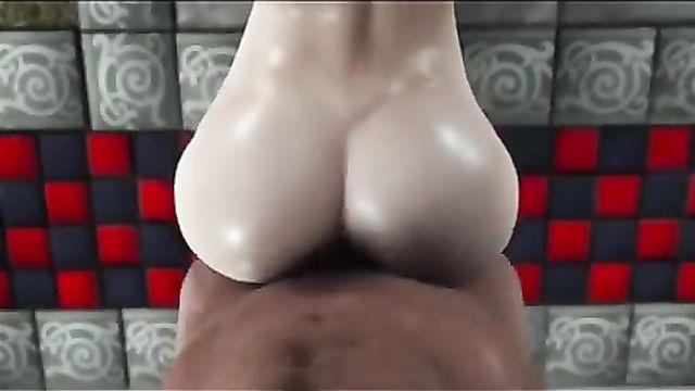 Здоровенный мускулистый черный член и брюнетка