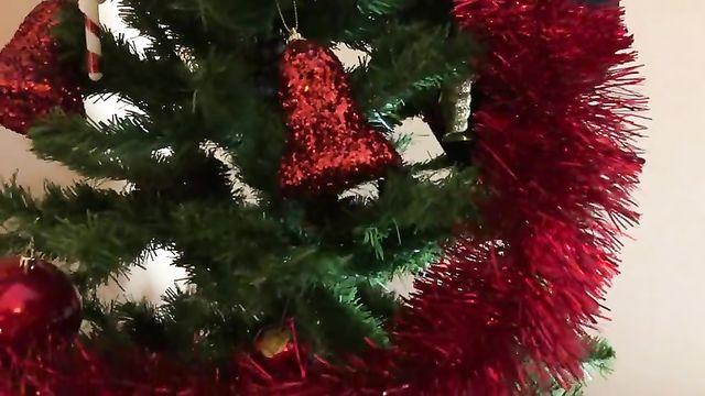 Красивый новогодний секс прямо под елкой