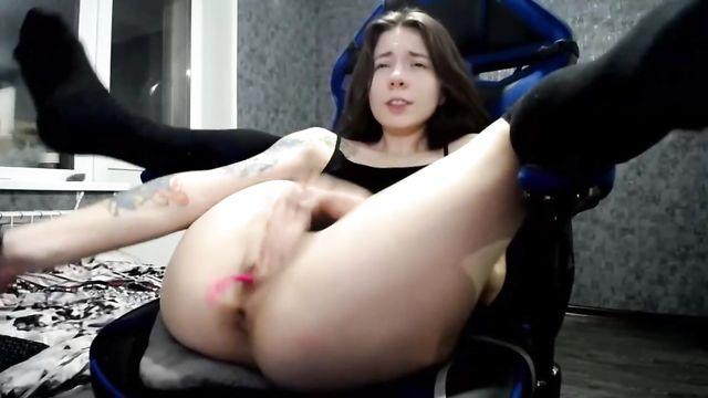 Sexy_B0rsch: Мастурбация анала черным большим искусственным членом
